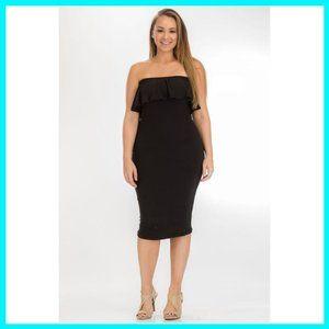 NWT Plus Size Bodycon Ruffled Tube Dress Black